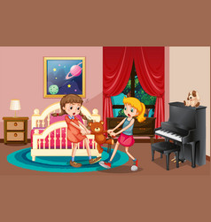Two girls fighting in bedroom vector