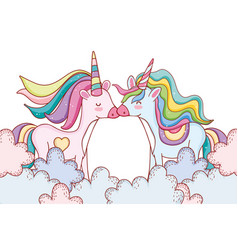 unicorns on clouds vector image
