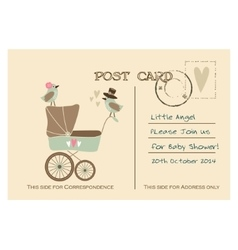 Vintage cute baby shower greeting postcard vector image