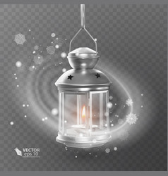 Vintage luminous lantern of white color with vector