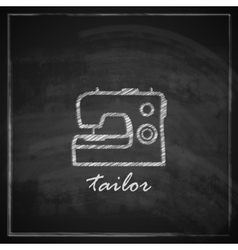 vintage with sewing machine sign on blackboard vector image