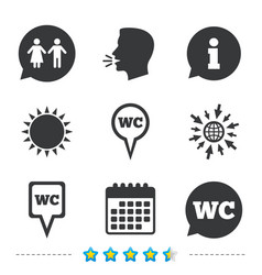 Wc toilet pointer icons gents and ladies room vector