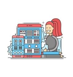 Web Page Optimization - flat design website banner vector image