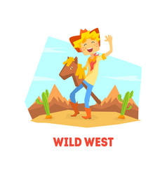 wild west funny cowboy character riding stick vector image