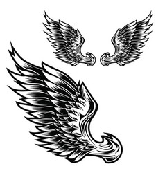 Wings bird feather black and white tattoo vector