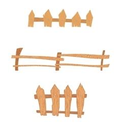 Wooden cartoon fences set vector image vector image