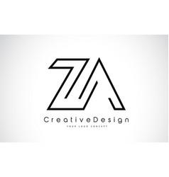 Za z a letter logo design in black colors vector