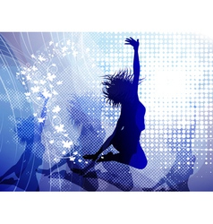 Background with jumping girl vector image