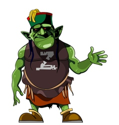 cartoon green humanlike monster in clothing vector image vector image