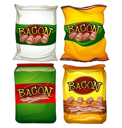 Four bags of bacon vector image vector image