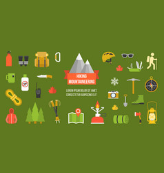 hiking mountainering pictogram vector image vector image