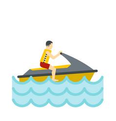 jet ski rider icon flat style vector image vector image