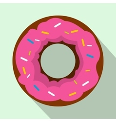 Pink glazed donut icon flat style vector image vector image