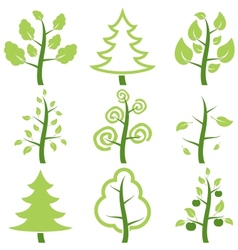 Set icons trees vector image vector image