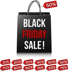 Shopping bag with Black Friday Sale sign and red vector image vector image