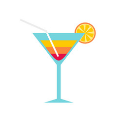 beach cocktail icon flat style vector image
