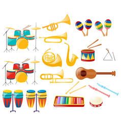 different kinds of musical instruments vector image vector image