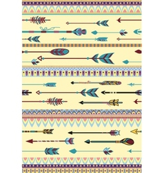 Ethnic Patterns with Arrows vector image