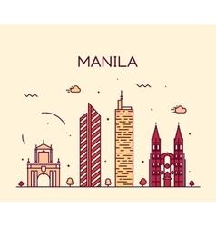 Manila skyline trendy linear vector image