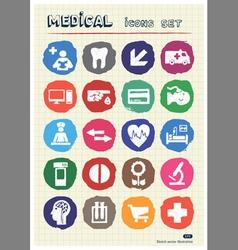 Medical and human web icons set drawn by chalk vector image vector image