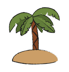tropical island with palm vector image