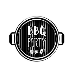 bbq party banner grill badge isolated on white vector image vector image