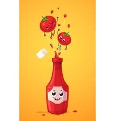 Set of ketchup characters cute cartoons vector image