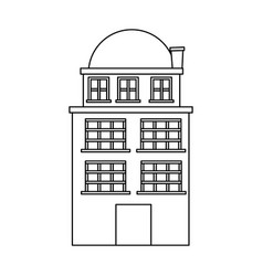 silhouette edifice residence with three floors and vector image