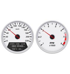 speedometer and tachometer white gauge vector image