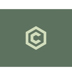 Abstract letter C logotype Line hexagon vector image vector image