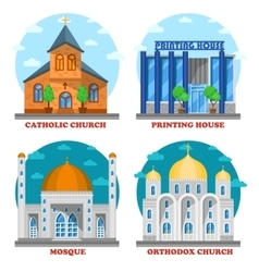 Set of church buildings and printing house facade vector image vector image