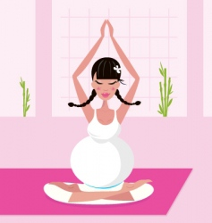 Yoga pregnant woman vector image