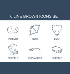 6 brown icons vector