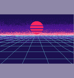 80 s purple city pixel art 8 bit object fashion vector image