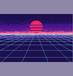 80 s purple city pixel art 8 bit object fashion vector