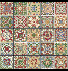 A collection of ceramic tiles in retro colors vector