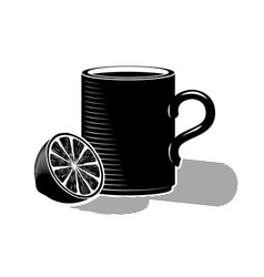 a cup of hot tea and half a lemon black drawing vector image