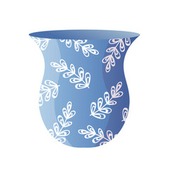 abstract drawing leaf fashion on modern blue vase vector image