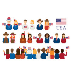 Americans people portrait and crowd in back view vector