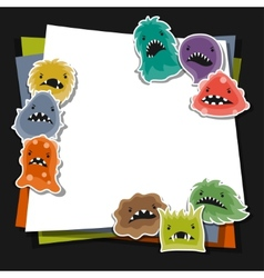 Background with little angry viruses and monsters vector image
