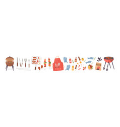 barbecue elements set flat vector image