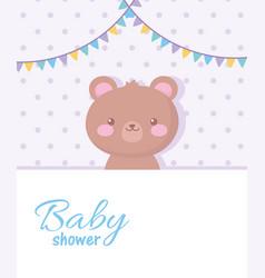 Bashower cute teddy bear pennants decoration vector