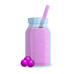 Berry smoothie bottle icon cartoon style vector