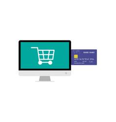 Big monitor shopping cart and credit card for vector