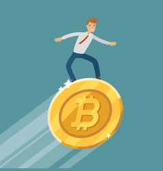 bitcoin growing up business concept successful vector image