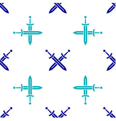 Blue crossed medieval sword icon isolated seamless vector
