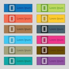 Book icon sign Set of twelve rectangular colorful vector image