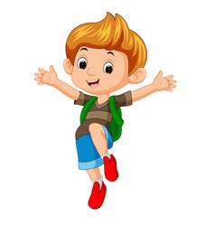 boy go to school vector image