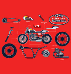 Build your racing motorcycle with separated parts vector