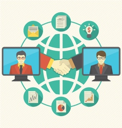 Business Cooperation Concept with Turquoise Globe vector